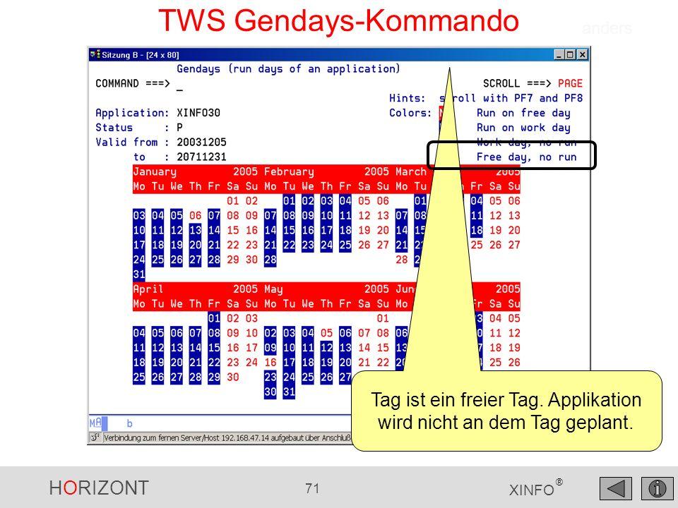 HORIZONT 71 XINFO ® TWS Gendays-Kommando Tag ist ein freier Tag. Applikation wird nicht an dem Tag geplant. anders