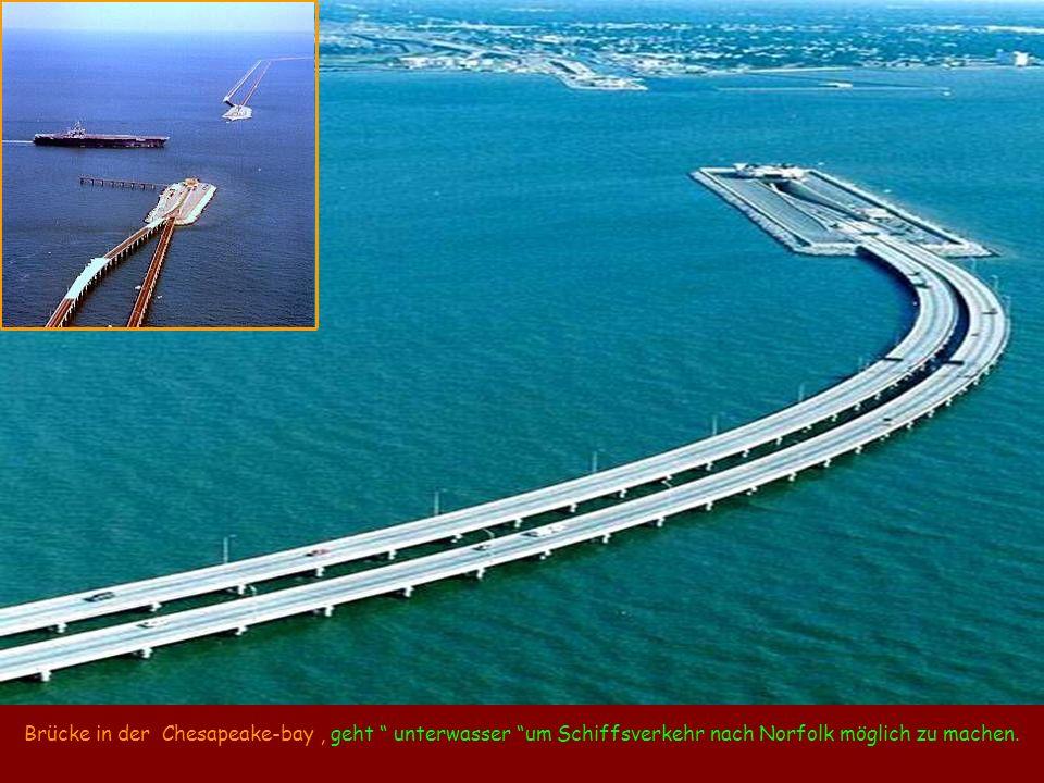 Brücke in der Chesapeake-bay, geht unterwasser um Schiffsverkehr nach Norfolk möglich zu machen.