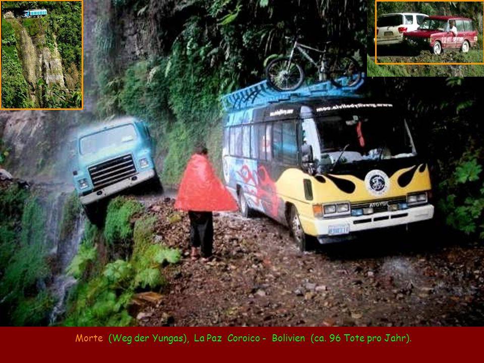 Morte (Weg der Yungas), La Paz Coroico - Bolivien (ca. 96 Tote pro Jahr).