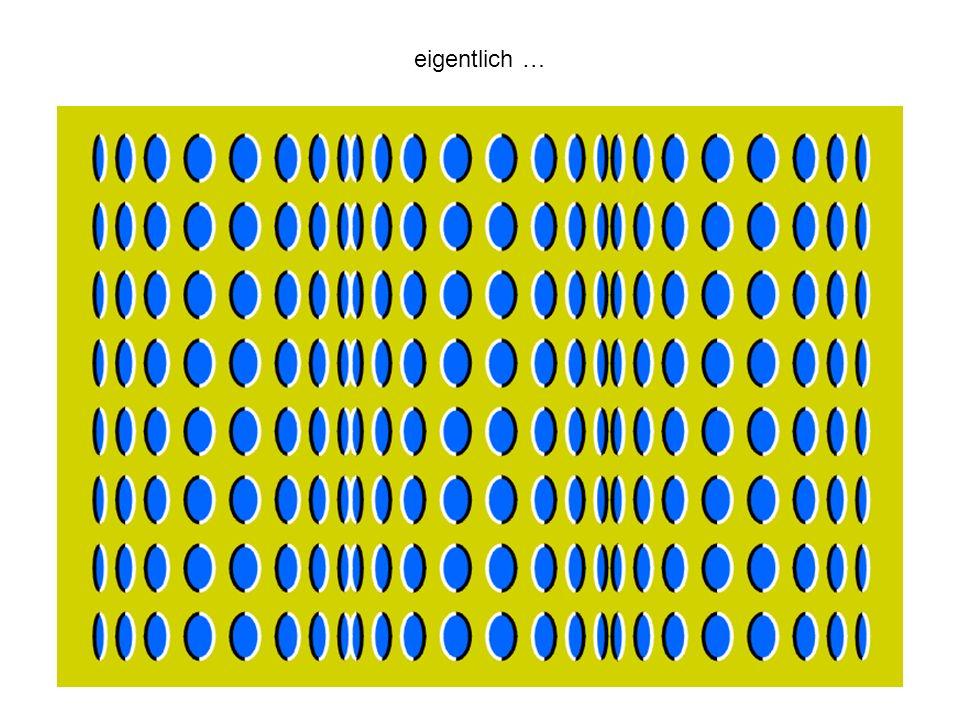 Das Hirn strengt sich sehr stark an, um die Felder zu betrachten wie sie sein sollten: Schwarz oder weiss.
