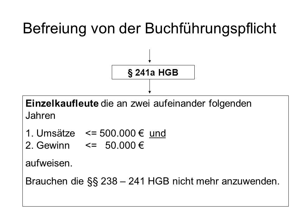 Befreiung von der Buchführungspflicht § 241a HGB Einzelkaufleute die an zwei aufeinander folgenden Jahren 1.