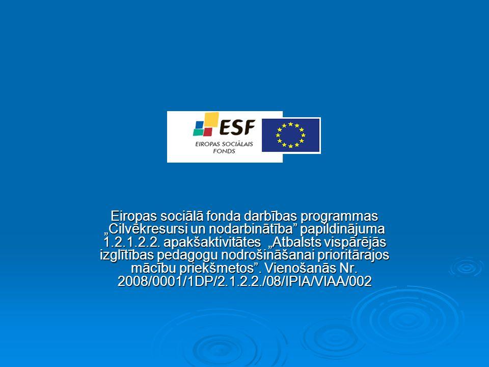 Eiropas sociālā fonda darbības programmas Cilvēkresursi un nodarbinātība papildinājuma 1.2.1.2.2.