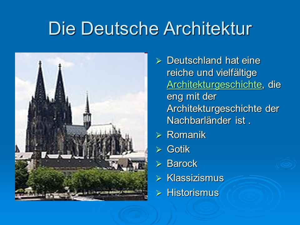 Die Deutsche Architektur Deutschland hat eine reiche und vielfältige Architekturgeschichte, die eng mit der Architekturgeschichte der Nachbarländer ist.