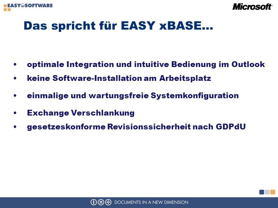 Das spricht für EASY xBASE… optimale Integration und intuitive Bedienung im Outlook keine Software-Installation am Arbeitsplatz einmalige und wartungsfreie Systemkonfiguration Exchange Verschlankung gesetzeskonforme Revisionssicherheit nach GDPdU