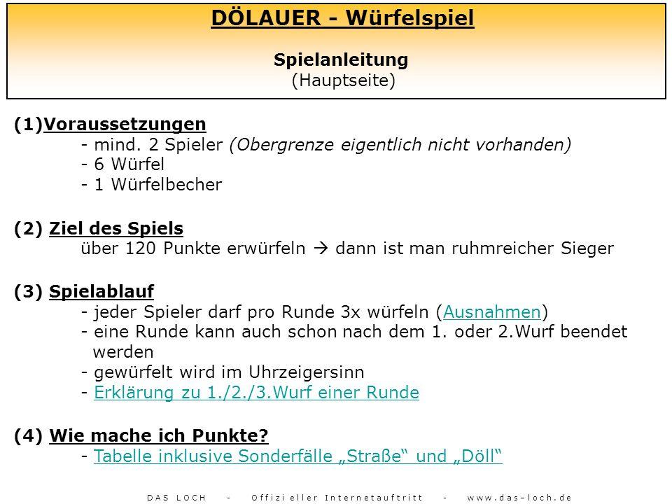 DÖLAUER - Würfelspiel Spielanleitung (Hauptseite) (1)Voraussetzungen - mind. 2 Spieler (Obergrenze eigentlich nicht vorhanden) - 6 Würfel - 1 Würfelbe