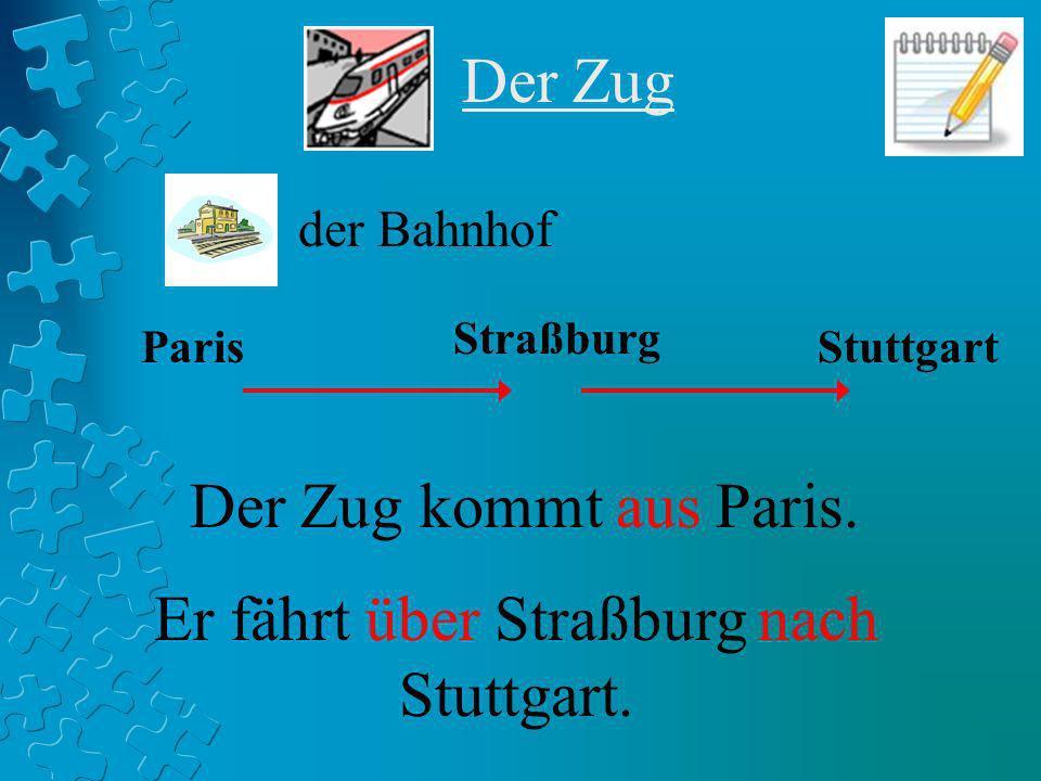 Der Zug Stuttgart Straßburg Paris Der Zug kommt aus Paris. Er fährt über Straßburg nach Stuttgart. der Bahnhof