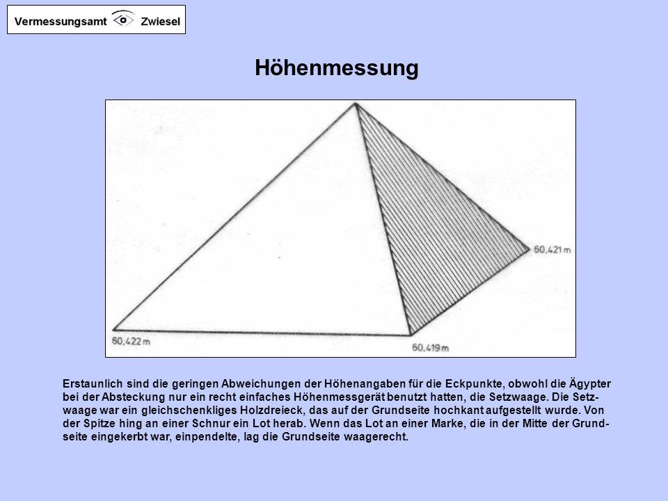 Absteckung von rechten Winkeln Die ägyptischen Ingenieure benutzten für die Absteckung der Pyramiden das Mess- seil, mit dem sie auch die Felder aus-