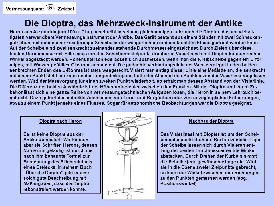 Die Dioptra, das Mehrzweck-Instrument der Antike Heron aus Alexandria (um 100 n.