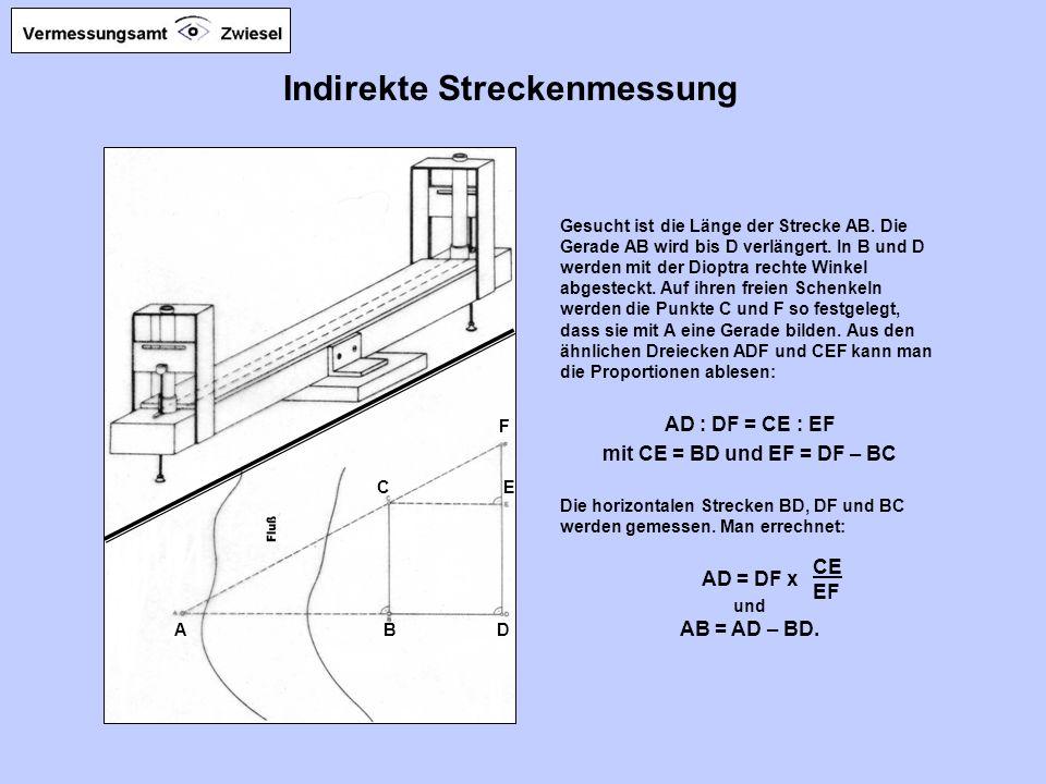 Indirekte Streckenmessung Gesucht ist die Länge der Strecke AB.