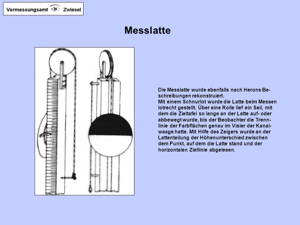 Messlatte Die Messlatte wurde ebenfalls nach Herons Be- schreibungen rekonstruiert.
