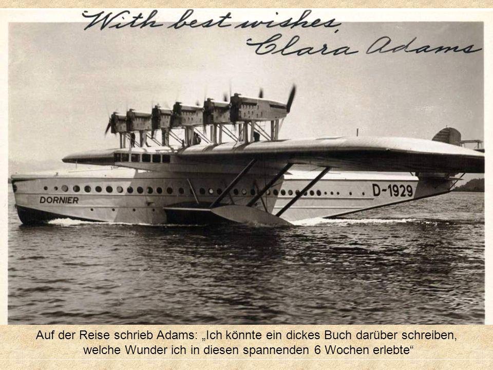War der erste weibliche, zahlende Passagier auf dem Flug des 12motorigen DORNIER DO-X Flugboot von Rio de Janeiro nach New York im Jahr 1931 Sound