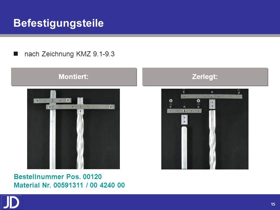 14 Spannbetonpfosten Form C Zeichnung Dicke KMZ 8 Montiert: Zerlegt: Bestellnummer Pos. 00110 Material Nr. 00667614 Form C / 00 1624 00