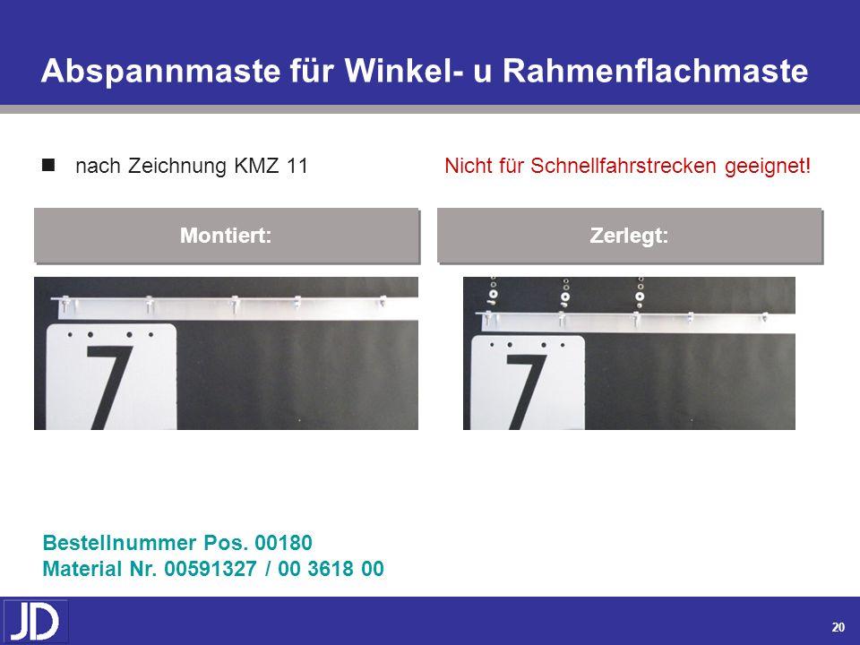 19 Befestigungsteile an Abspannmaste aus Beton nach Zeichnung KMZ 11 Montiert: Zerlegt: Bestellnummer Pos. 000160 / 000170 Material Nr. 00591318 / 00