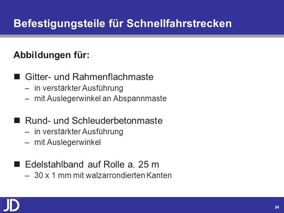 23 JOSEF DICKE Inh.: Werner Dicke Metallwarenfabrik – Druckgiesserei – Werkzeugbau Anhang Nachfolgende Artikel sind für Schnellfahrstrecken und nur üb