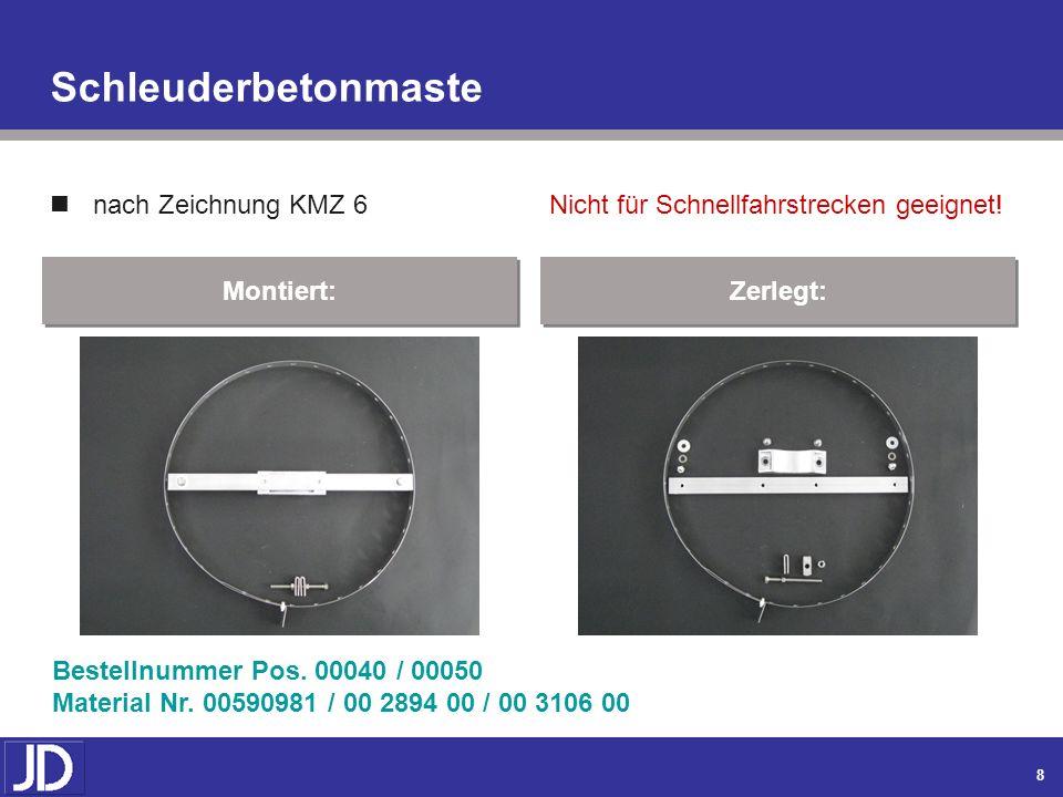 7 Montiert: Winkel- und Rahmenflachmaste (Fortsetzung) nach Zeichnung KMZ 4.1 / 250 mm Bestellnummer Pos. 00030 Material Nr. 00590979 / 00 3579 00 Zer