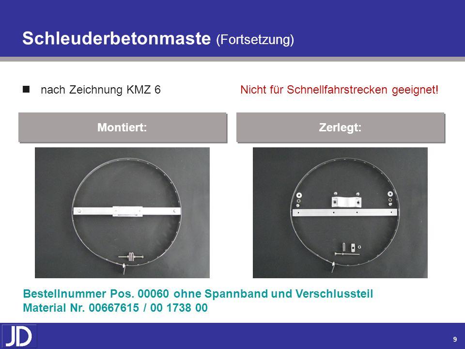 8 Schleuderbetonmaste nach Zeichnung KMZ 6 Montiert: Zerlegt: Bestellnummer Pos. 00040 / 00050 Material Nr. 00590981 / 00 2894 00 / 00 3106 00 Nicht f