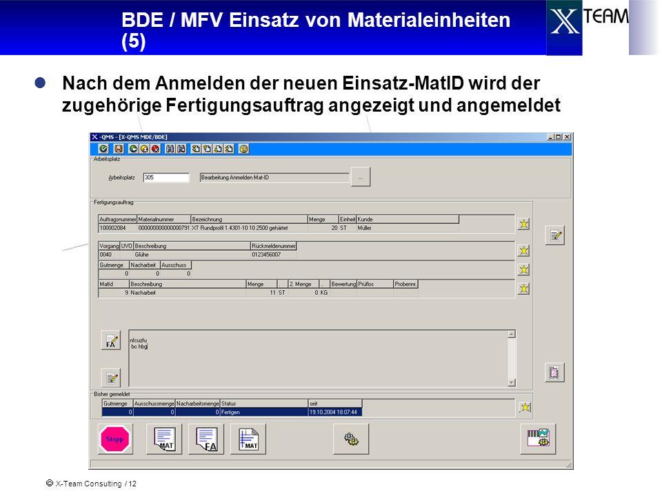 X-Team Consulting / 12 BDE / MFV Einsatz von Materialeinheiten (5) Nach dem Anmelden der neuen Einsatz-MatID wird der zugehörige Fertigungsauftrag angezeigt und angemeldet