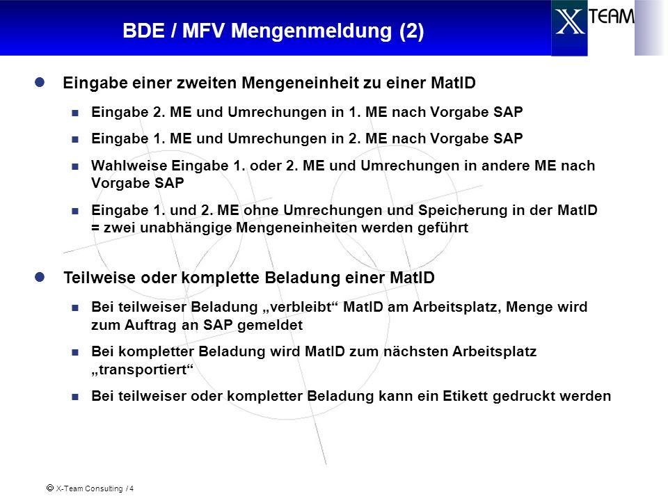 X-Team Consulting / 4 BDE / MFV Mengenmeldung (2) Eingabe einer zweiten Mengeneinheit zu einer MatID Eingabe 2.