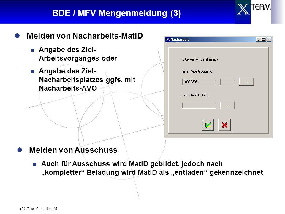 X-Team Consulting / 5 BDE / MFV Mengenmeldung (3) Melden von Nacharbeits-MatID Angabe des Ziel- Arbeitsvorganges oder Angabe des Ziel- Nacharbeitsplatzes ggfs.
