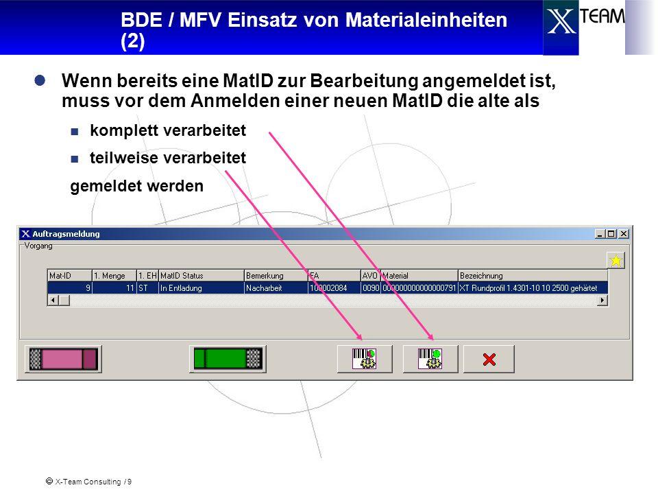X-Team Consulting / 10 BDE / MFV Einsatz von Materialeinheiten (3) Wenn bereits eine MatID nicht komplett eingesetzt worden ist, so muss angegeben werden: Restmenge Kommentar als Hinweis für die weitere Bearbeitung Kennzeichen ob MatID gesperrt werden soll Auf welchen Arbeitsplatz die MatID transportiert werden soll