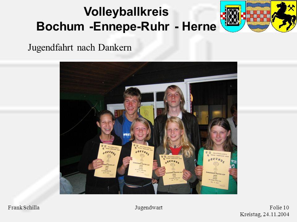 Volleyballkreis Bochum -Ennepe-Ruhr - Herne Frank SchillaFolie 10 Kreistag, 24.11.2004 Jugendwart Jugendfahrt nach Dankern