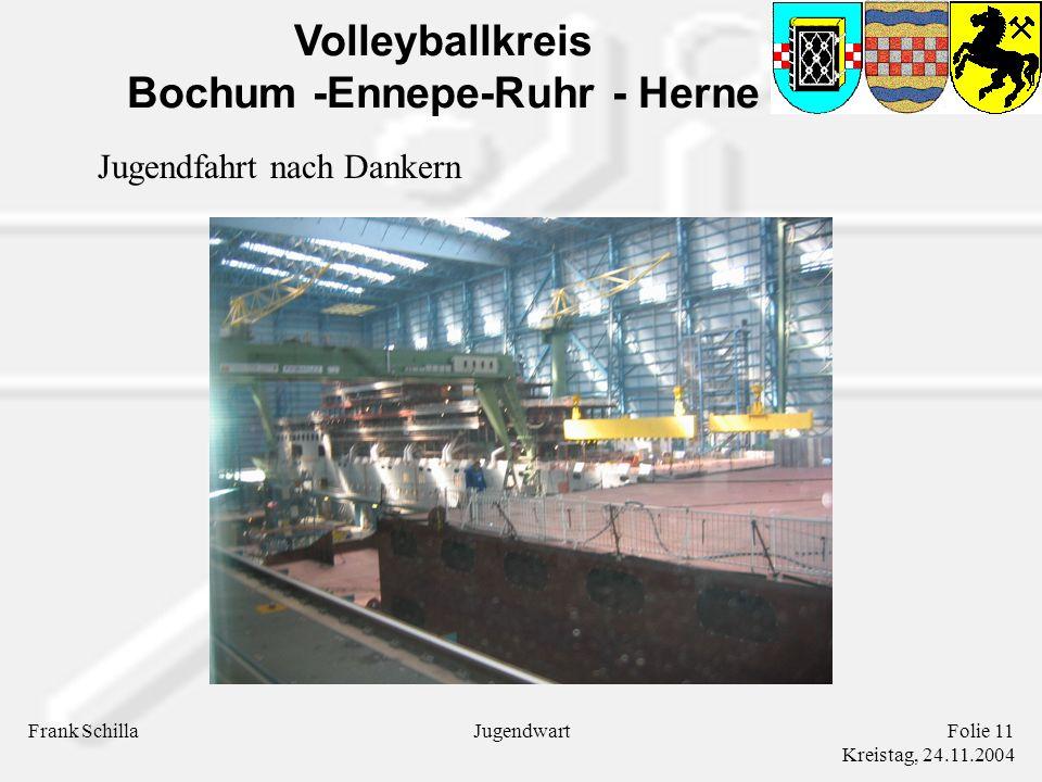 Volleyballkreis Bochum -Ennepe-Ruhr - Herne Frank SchillaFolie 11 Kreistag, 24.11.2004 Jugendwart Jugendfahrt nach Dankern