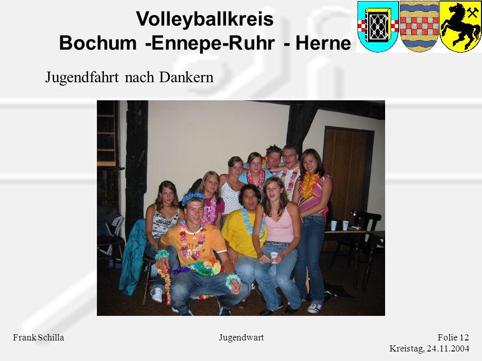 Volleyballkreis Bochum -Ennepe-Ruhr - Herne Frank SchillaFolie 12 Kreistag, 24.11.2004 Jugendwart Jugendfahrt nach Dankern