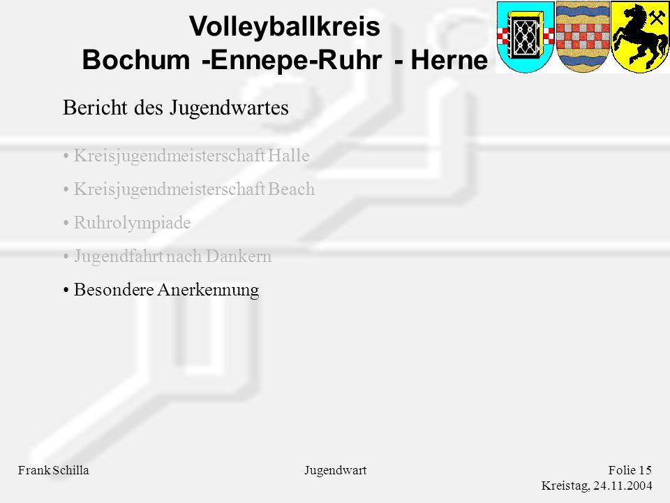 Volleyballkreis Bochum -Ennepe-Ruhr - Herne Frank SchillaFolie 15 Kreistag, 24.11.2004 Jugendwart Bericht des Jugendwartes Kreisjugendmeisterschaft Halle Kreisjugendmeisterschaft Beach Ruhrolympiade Jugendfahrt nach Dankern Besondere Anerkennung