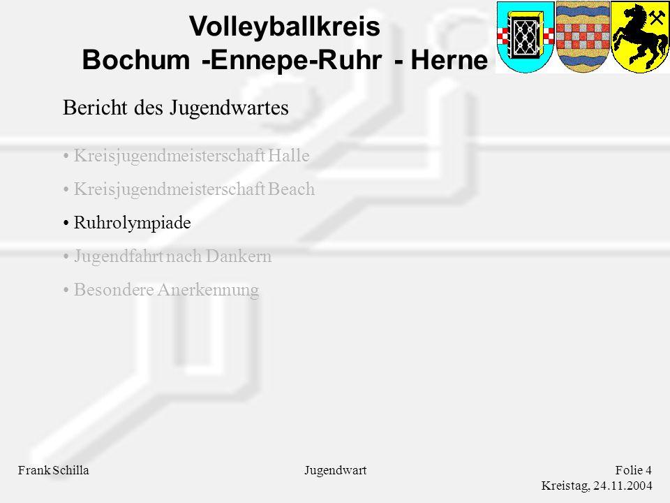 Volleyballkreis Bochum -Ennepe-Ruhr - Herne Frank SchillaFolie 4 Kreistag, 24.11.2004 Jugendwart Bericht des Jugendwartes Kreisjugendmeisterschaft Halle Kreisjugendmeisterschaft Beach Ruhrolympiade Jugendfahrt nach Dankern Besondere Anerkennung