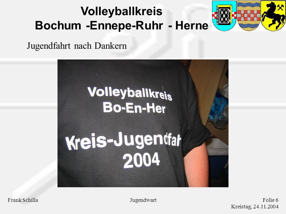 Volleyballkreis Bochum -Ennepe-Ruhr - Herne Frank SchillaFolie 6 Kreistag, 24.11.2004 Jugendwart Jugendfahrt nach Dankern