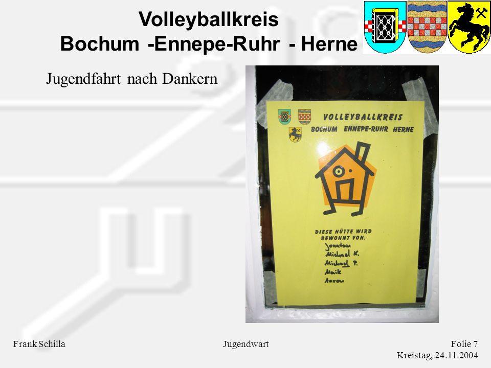 Volleyballkreis Bochum -Ennepe-Ruhr - Herne Frank SchillaFolie 7 Kreistag, 24.11.2004 Jugendwart Jugendfahrt nach Dankern