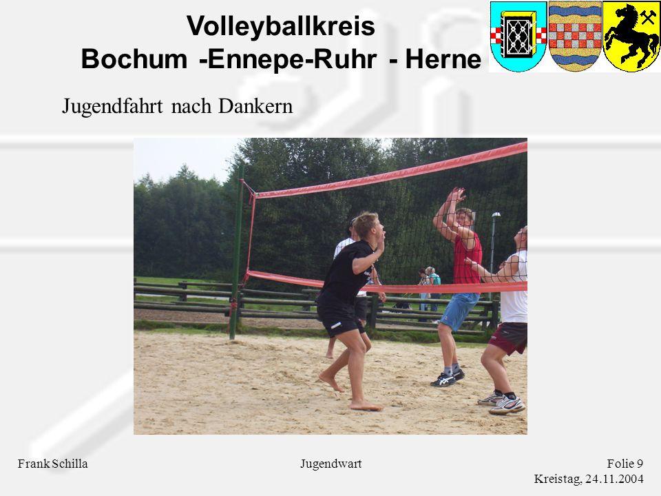 Volleyballkreis Bochum -Ennepe-Ruhr - Herne Frank SchillaFolie 9 Kreistag, 24.11.2004 Jugendwart Jugendfahrt nach Dankern