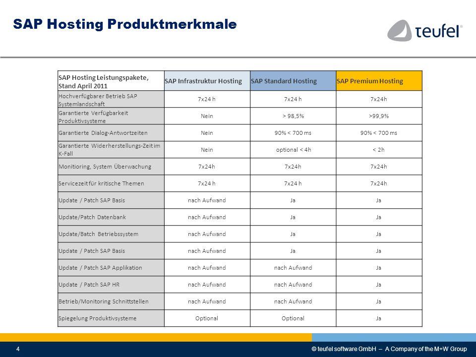 © teufel software GmbH – A Company of the M+W Group4 SAP Hosting Produktmerkmale SAP Hosting Leistungspakete, Stand April 2011 SAP Infrastruktur Hosti