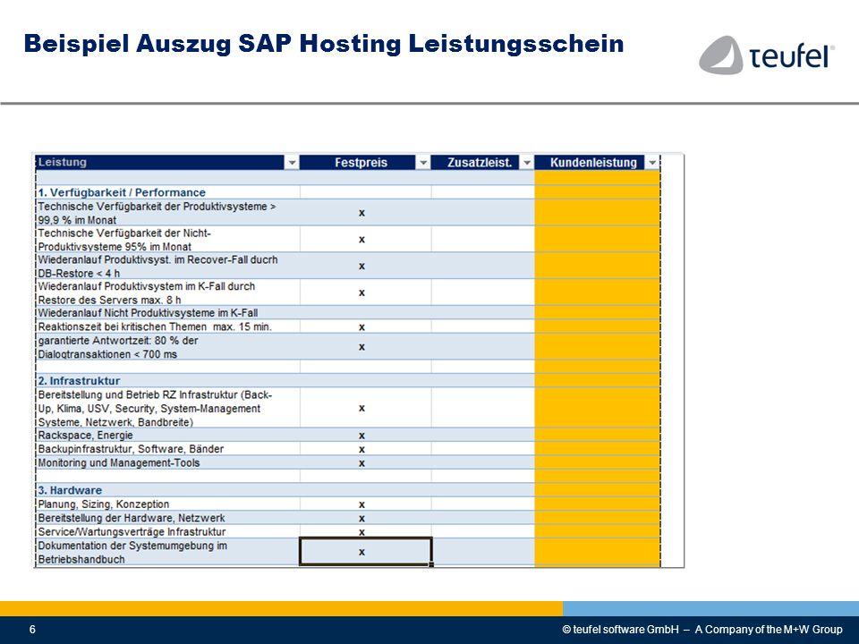 © teufel software GmbH – A Company of the M+W Group6 Beispiel Auszug SAP Hosting Leistungsschein