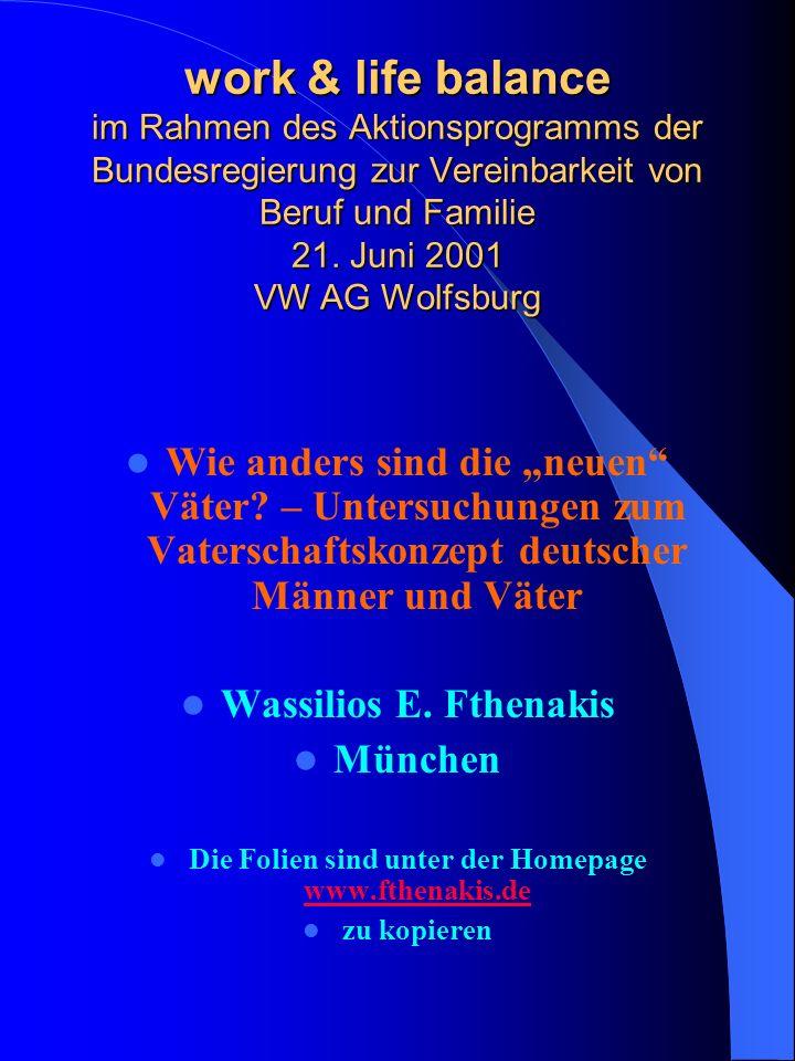 work & life balance im Rahmen des Aktionsprogramms der Bundesregierung zur Vereinbarkeit von Beruf und Familie 21. Juni 2001 VW AG Wolfsburg Wie ander