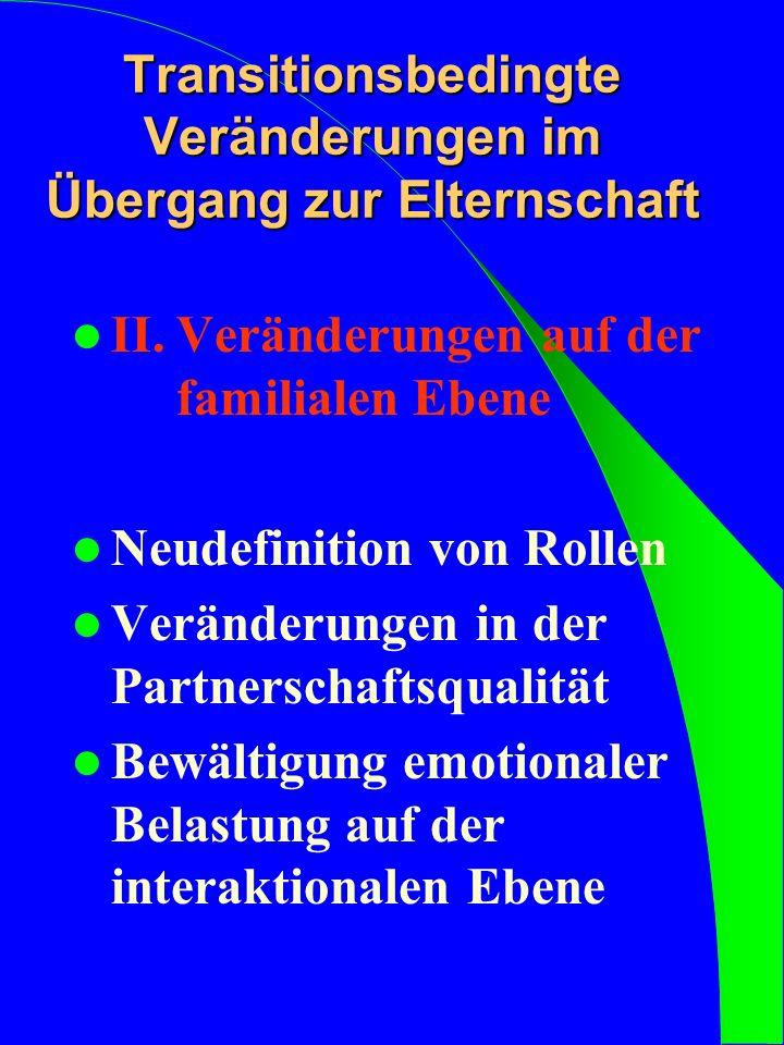 II.Veränderungen auf der familialen Ebene Neudefinition von Rollen Veränderungen in der Partnerschaftsqualität Bewältigung emotionaler Belastung auf d