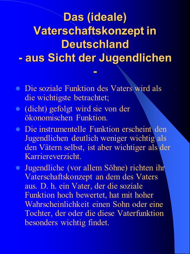 Das (ideale) Vaterschaftskonzept in Deutschland - aus Sicht der Jugendlichen - Die soziale Funktion des Vaters wird als die wichtigste betrachtet; (di
