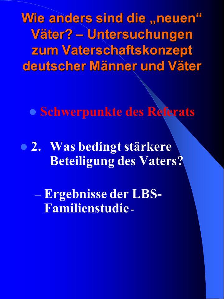 Lebensziele deutscher Väter Davon unabhängig sind die Einstellungen, wie sie sich in den Facetten soziale und instrumentelle Funktion im Vaterschaftskonzept abbilden, verbunden mit Lebenszielen, die auf die Familie gerichtet sind, nämlich stabile, glückliche Partnerschaft und Kinder, aber auch angenehme Freizeitgestaltung und Gesundheit.