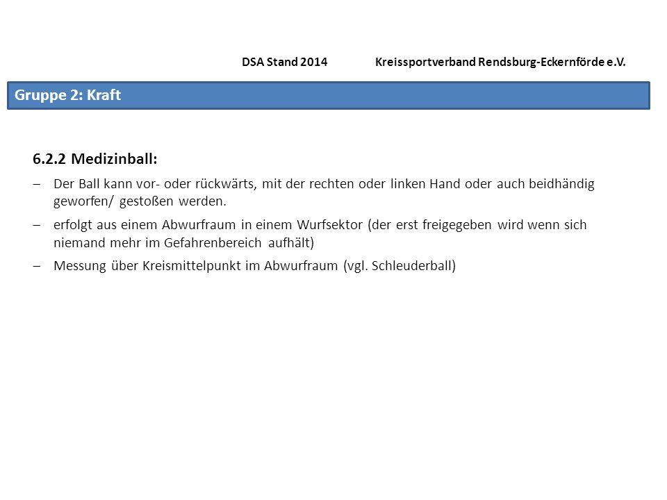Gruppe 2: Schnelligkeit 6.3.2 Zonenweitsprung Nur noch für den Kinderbereich (Siehe Seite 25) DSA Stand 2014 Kreissportverband Rendsburg-Eckernförde e.V.