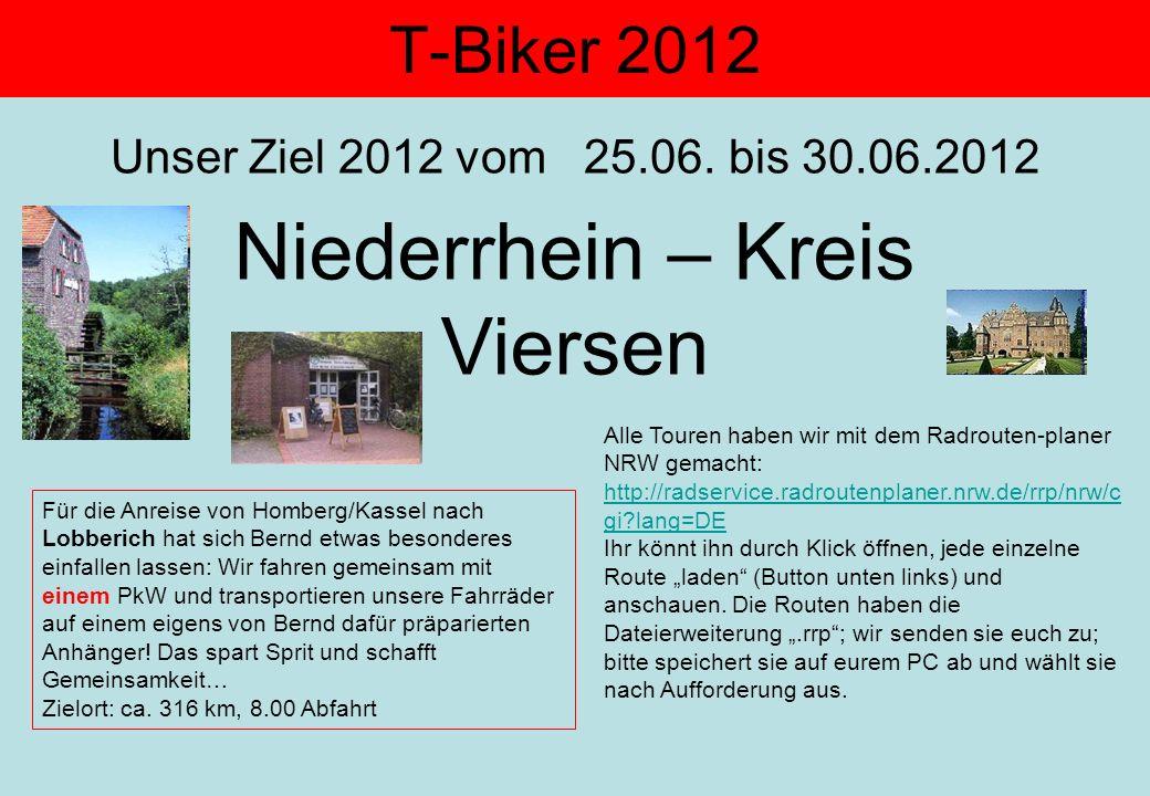 T-Biker 2012 Unser Ziel 2012 vom 25.06. bis 30.06.2012 Niederrhein – Kreis Viersen Alle Touren haben wir mit dem Radrouten-planer NRW gemacht: http://