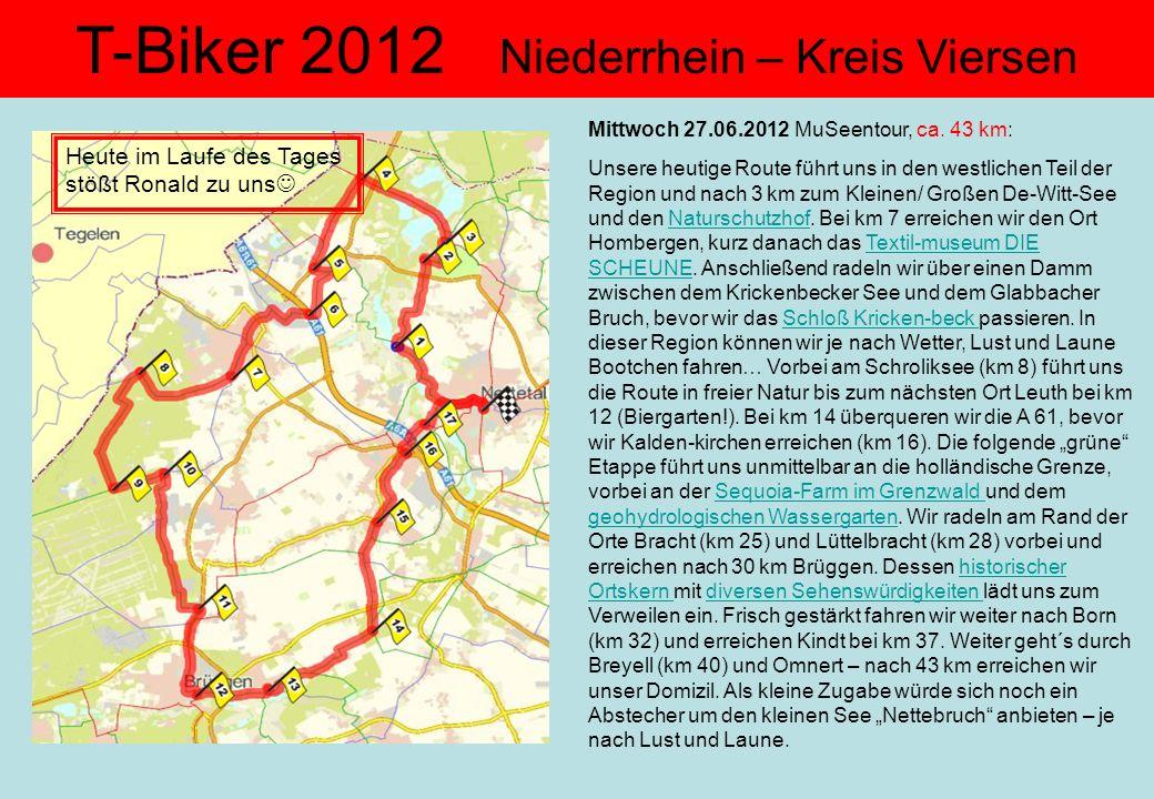 T-Biker 2012 Niederrhein – Kreis Viersen Mittwoch 27.06.2012 MuSeentour, ca. 43 km: Unsere heutige Route führt uns in den westlichen Teil der Region u
