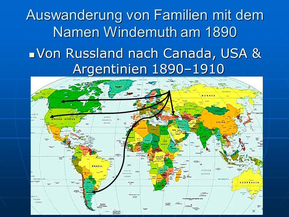 Auswanderung von Familien mit Namen Windemuth am 1764 -1767 1764 -1767 1764 -1767 von Germany nach Russland in das Wolgagebiet: von Germany nach Russl