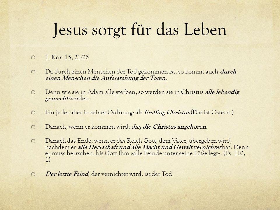 Jesus sorgt für das Leben 1. Kor. 15, 21-26 Da durch einen Menschen der Tod gekommen ist, so kommt auch durch einen Menschen die Auferstehung der Tote