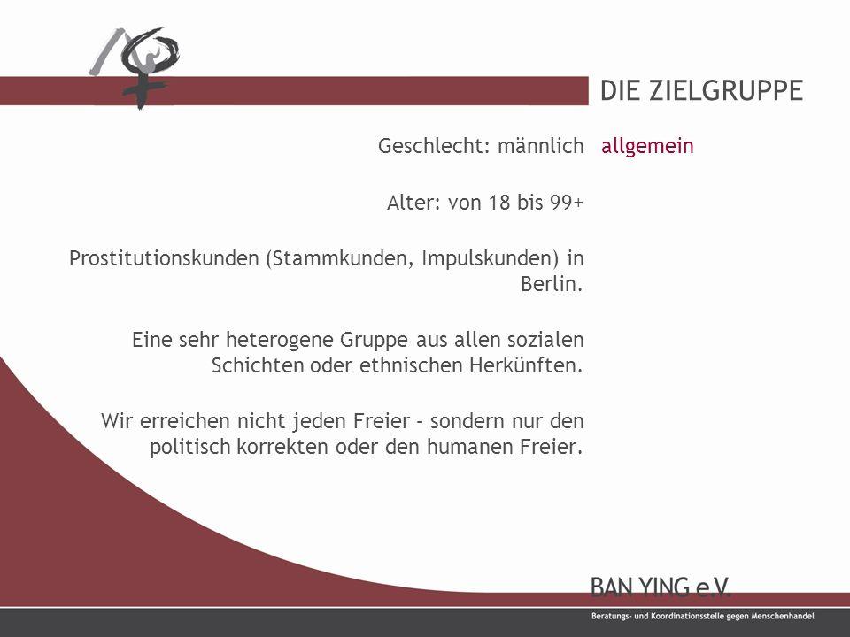 DIE ZIELGRUPPE Geschlecht: männlich Alter: von 18 bis 99+ Prostitutionskunden (Stammkunden, Impulskunden) in Berlin.
