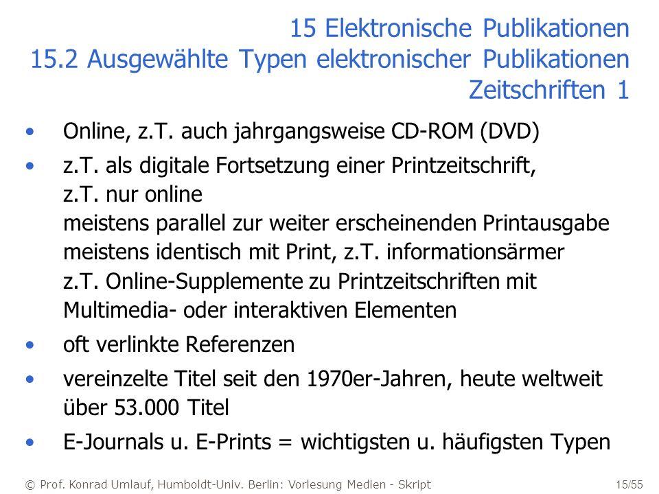 © Prof. Konrad Umlauf, Humboldt-Univ. Berlin: Vorlesung Medien - Skript 15/55 15 Elektronische Publikationen 15.2 Ausgewählte Typen elektronischer Pub