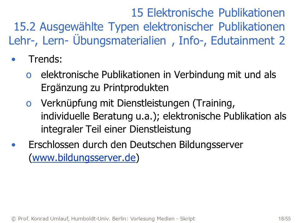 © Prof. Konrad Umlauf, Humboldt-Univ. Berlin: Vorlesung Medien - Skript 18/55 15 Elektronische Publikationen 15.2 Ausgewählte Typen elektronischer Pub