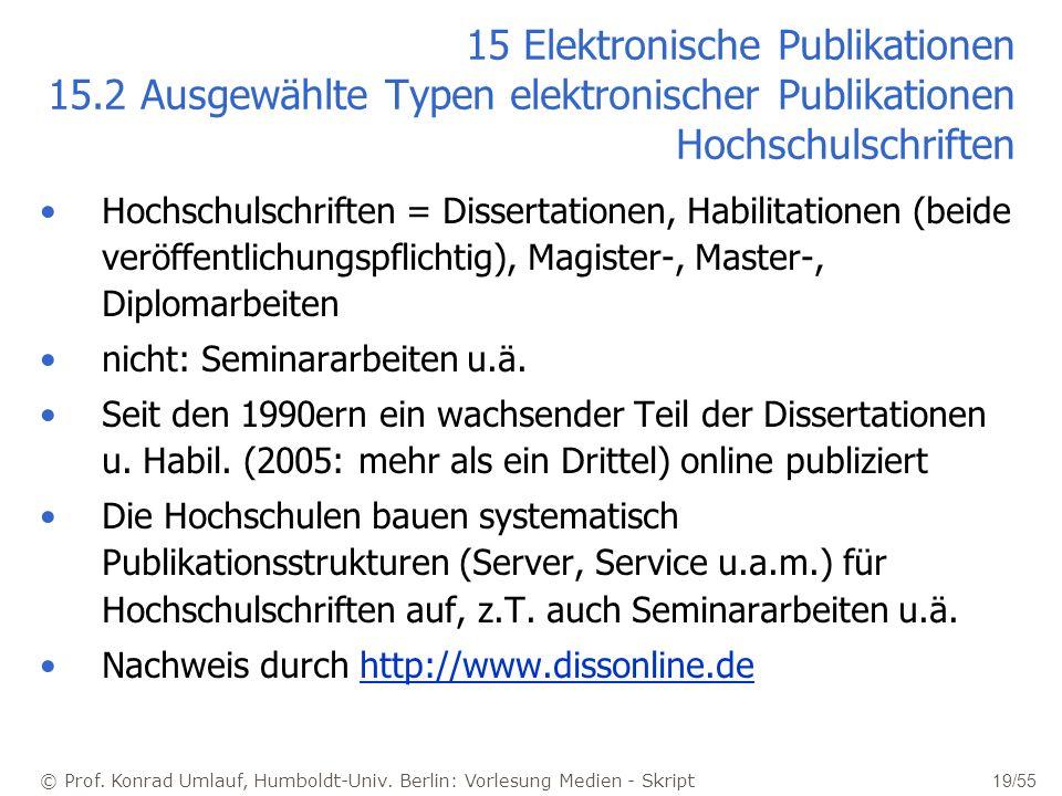 © Prof. Konrad Umlauf, Humboldt-Univ. Berlin: Vorlesung Medien - Skript 19/55 15 Elektronische Publikationen 15.2 Ausgewählte Typen elektronischer Pub