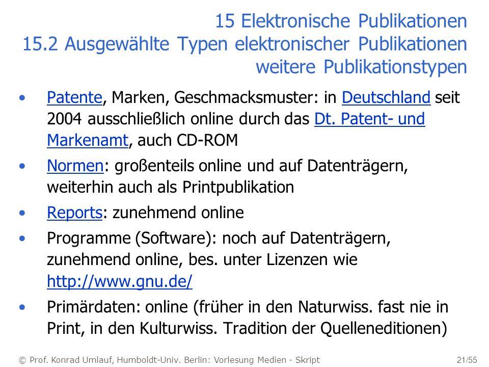 © Prof. Konrad Umlauf, Humboldt-Univ. Berlin: Vorlesung Medien - Skript 21/55 15 Elektronische Publikationen 15.2 Ausgewählte Typen elektronischer Pub