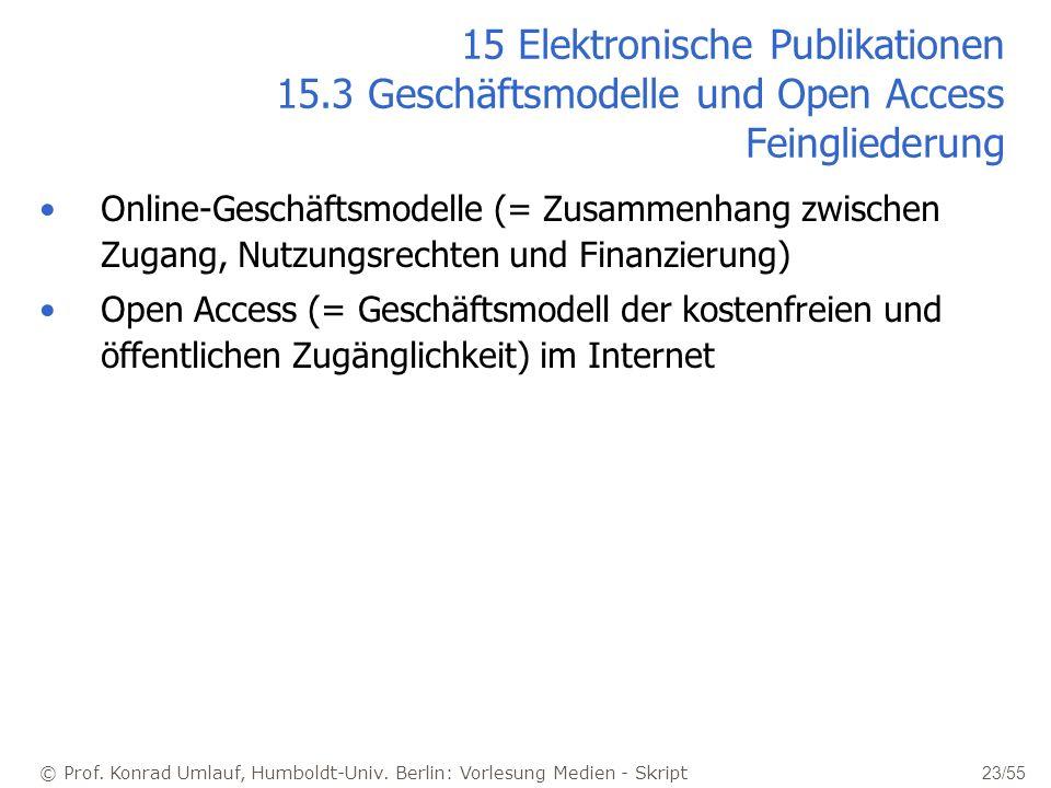 © Prof. Konrad Umlauf, Humboldt-Univ. Berlin: Vorlesung Medien - Skript 23/55 15 Elektronische Publikationen 15.3 Geschäftsmodelle und Open Access Fei