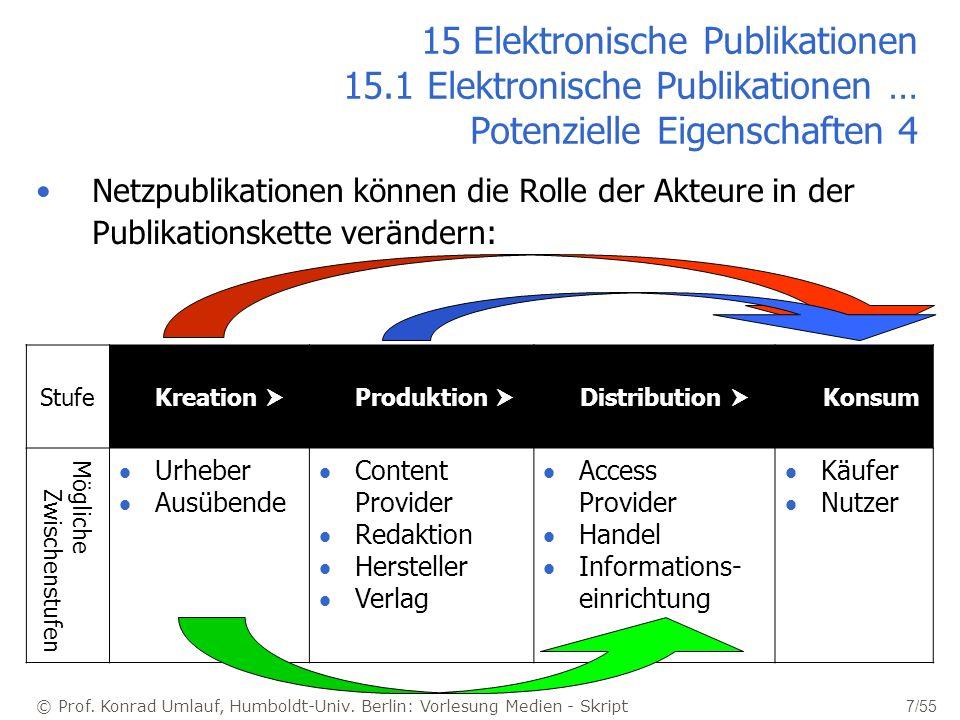 © Prof. Konrad Umlauf, Humboldt-Univ. Berlin: Vorlesung Medien - Skript 7/55 15 Elektronische Publikationen 15.1 Elektronische Publikationen … Potenzi